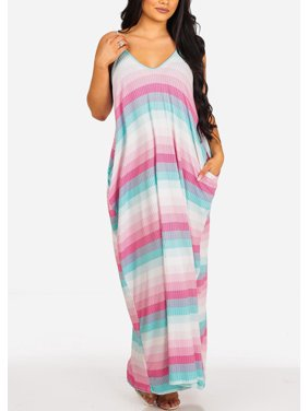 Womens Juniors Fashion Casual Oversized Stretchy Pink Stripe Print Flowy Spaghetti Strap Sun Tank Maxi Dress 30030V