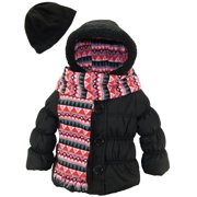 Pink Platinum Little Girls Hooded Winter Bubble Jacket Coat Matching Hat Scarf