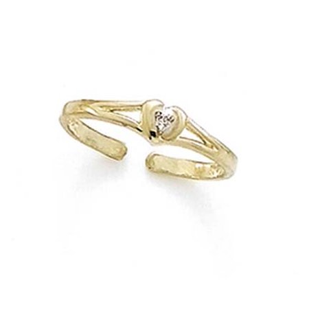 14k Yellow Gold Diamond Love Heart Toe Ring Jewelry Gifts for Women 14k Love Toe Ring
