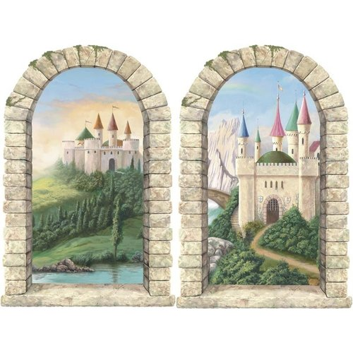 4 Walls Enchanted Kingdom Pre-Pasted Castle Windows Wall Mural (Set of 2)