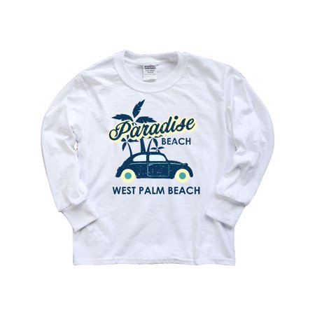 Paradise Beach in West Palm Beach with Palm Trees and Car Youth Long Sleeve T-Shirt