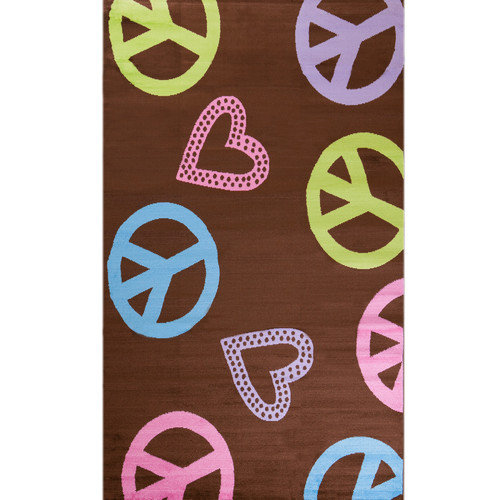 Concord Global Imports Alisa Peace and Polka Hearts Kids Rug