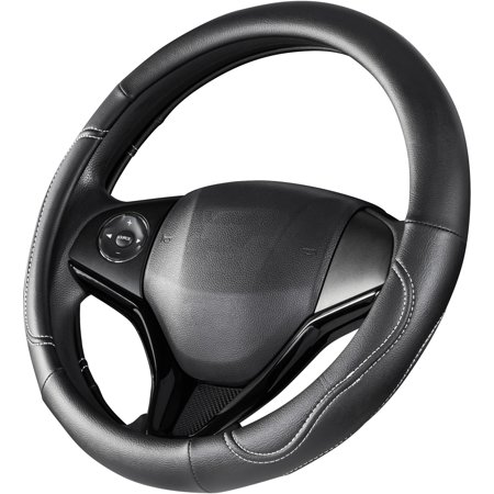 Auto Drive Black with White Stitching Universal Fit Steering Wheel Cover