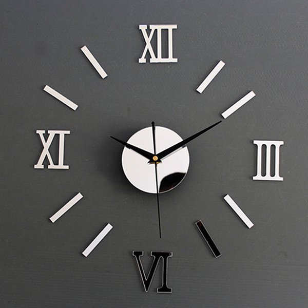 3d Diy Wall Clock Frameless Large Modern Wall Clock Home Decoration Mute Mirror Wall Stickers Black Roman Numerals Black Walmart Com Walmart Com