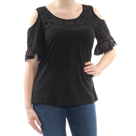 RALPH LAUREN Womens Black Ruffled Eyelet Scoop Neck T-Shirt Top Size: M