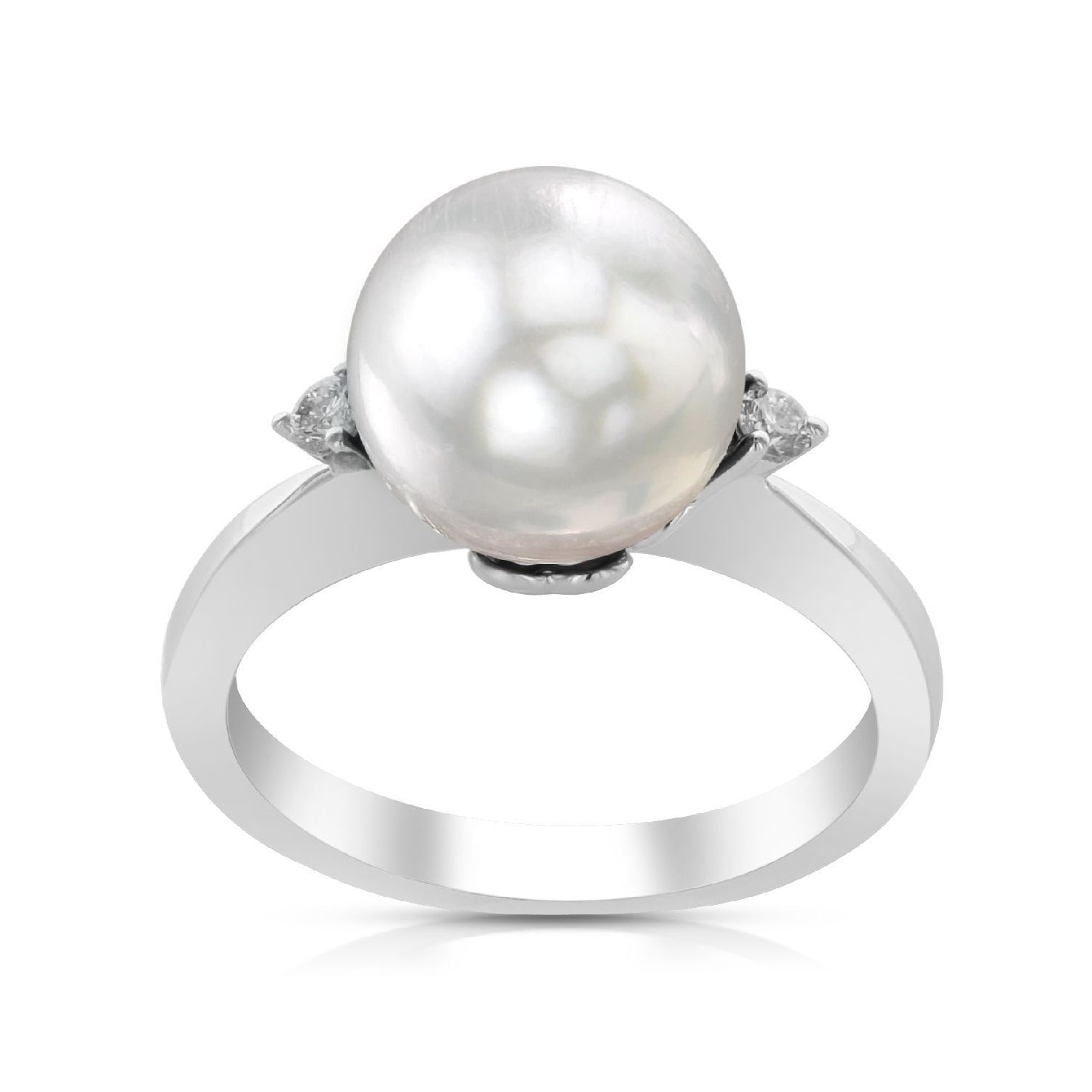 Radiance Pearl 14k White Gold White South Sea Pearl and Diamond Ring (G-H, SI1-SI2) by Overstock