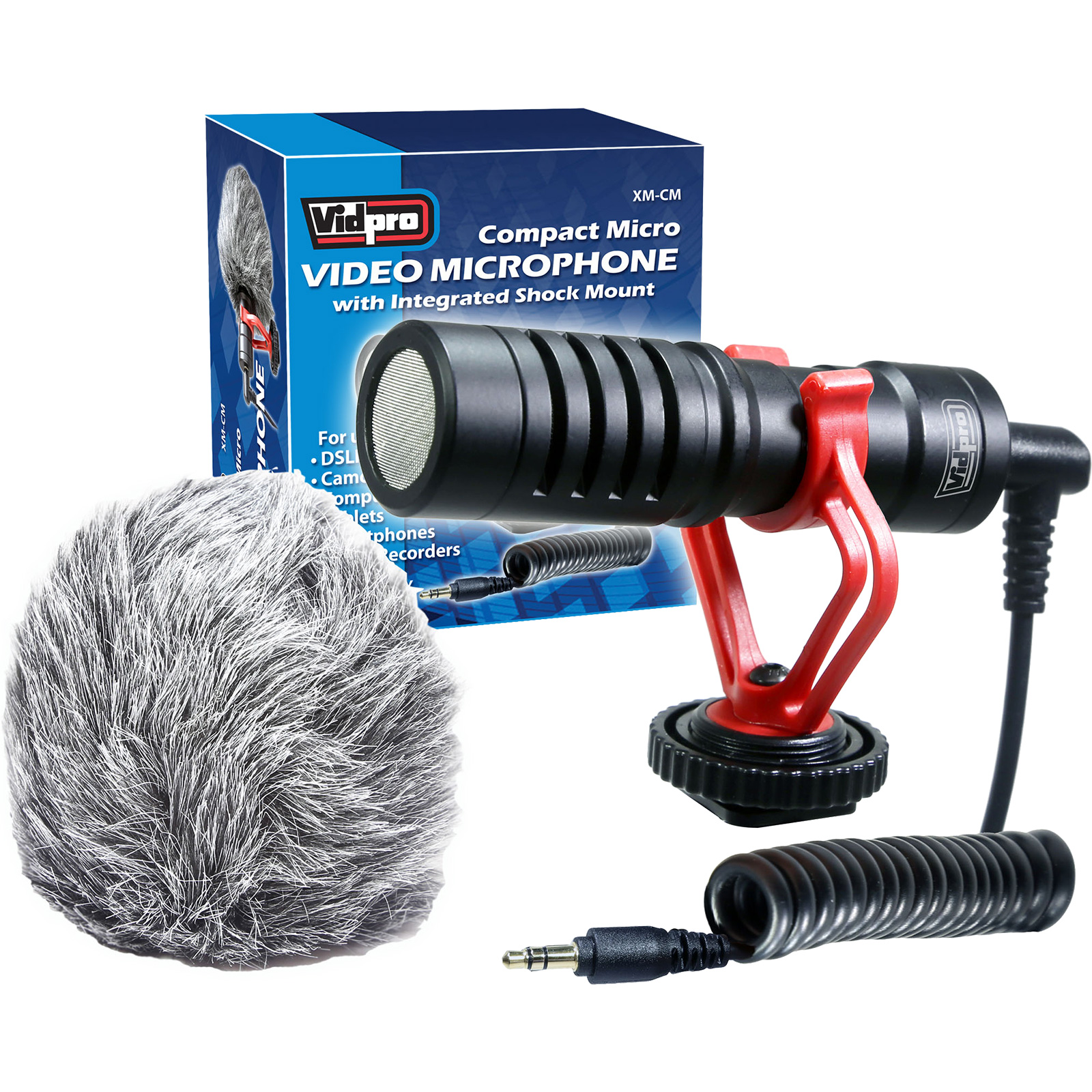 Vidpro XM-CM Compact Micro Video Microphone with Integrated Shock Mount for DSLR Cameras, Camcorders & Smartphones