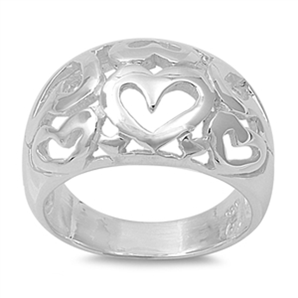 Sterling Silver Women's Heart Love Promise Ring ( Sizes 6 7 8 9 10 ) Polished 925 Band 6mm Rings by Sac Silver (Size 7)