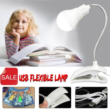 - 360° Rotating Adjustable Flexible USB LED Night Light Clip-On Laptop Bedside Desk Reading Lamp