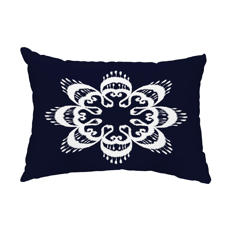 Ikat Mandala 14x20 Inch Navy Blue Decorative Ikat Outdoor Throw