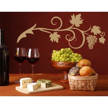 Gold Vine Pattern (Wine Vine Wall Decal - floral wall decal, sticker, mural vinyl art home decor - 1083 - White, 16in x 6in )