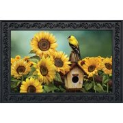 "Goldfinch and Sunflowers Summer Doormat Birdhouse Indoor Outdoor 18"" x 30"""