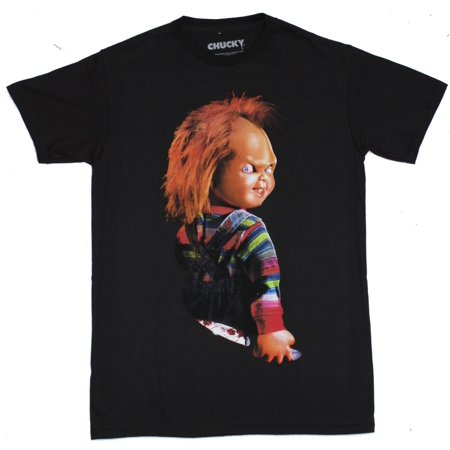 Child's Play Mens T-Shirt - Chucky Grinning Over Shoulder Glance (Chucky Shirt Stripes)