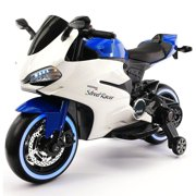 2017 Ducati Style Ride On Toy Motorcycle Car for Kids 12V Battery Powered Blue by