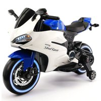 2017 Racing Style Ride On Toy Motorcycle Car for Kids 12V Battery Powered  Blue
