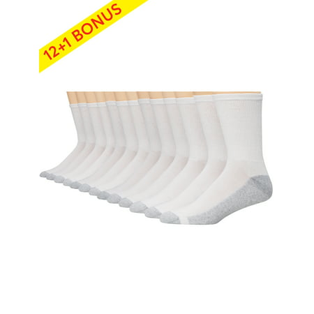 Hanes Men's Cushion FreshIQ Crew Socks 12 + 1 Bonus Pack