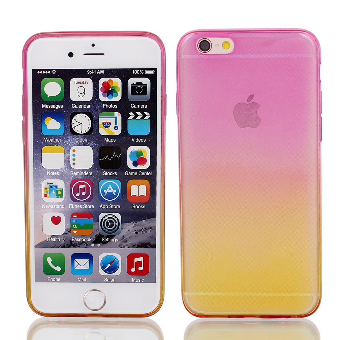 Light Pink Yellow Back Case Cover w Protective Film Wiper for Apple iPhone 6