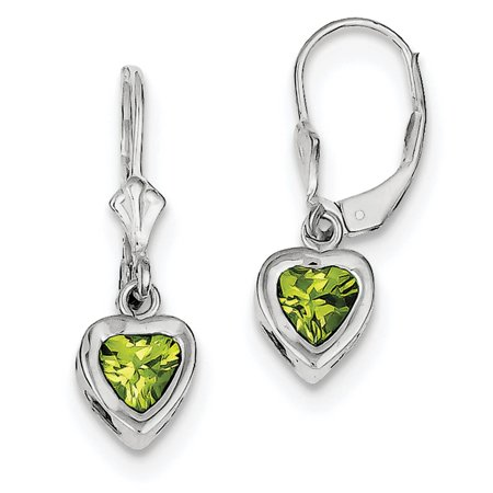 925 Sterling Silver Open Back Bezel Genuine 6mm Heart Peridot Leverback