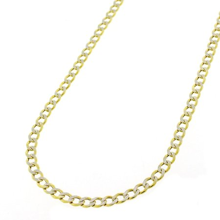 Silver Pave Curb Chain - 14K Yellow Gold 3.5mm Hollow Cuban Curb Link Diamond Cut Pave Chain Necklace 16