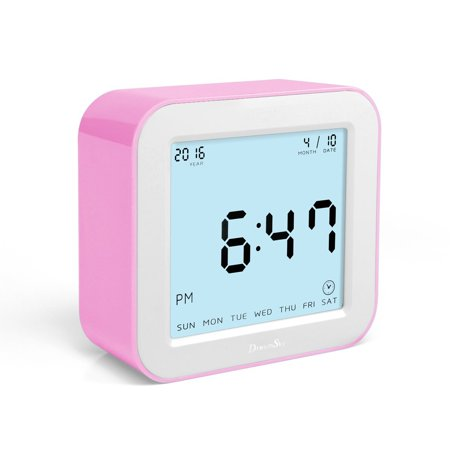 Dreamsky Digital Alarm Clock With Timer Date Temperature Display  Large Screen Battery Operated Travel Clocks  Pink