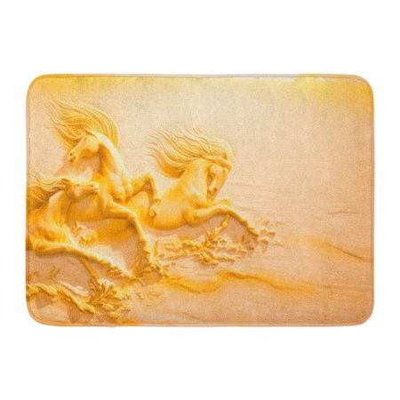 - GODPOK April 6 2016 Beautiful Sculpture Molding and Carving The Sandstone Horse Running Displayed in Gallery Rug Doormat Bath Mat 23.6x15.7 inch