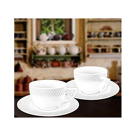 Wilmax WL-880106, 6 oz. Julia Collection White Porcelain Cappuccino Cups & Saucers, Classic European Bone China Coffee/Tea Cups with Saucers, Gift Box Set of 12 (6 cups + 6