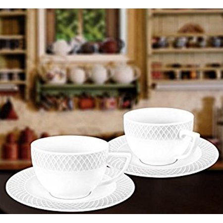 - Wilmax WL-880106, 6 oz. Julia Collection White Porcelain Cappuccino Cups & Saucers, Classic European Bone China Coffee/Tea Cups with Saucers, Gift Box Set of 12 (6 cups + 6 saucers)