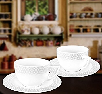 Wilmax WL-880106, 6 oz. Julia Collection White Porcelain Cappuccino Cups & Saucers, Classic European Bone China Coffee/Tea Cups with Saucers, Gift Box Set of 12 (6 cups + 6 saucers)