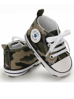 Wsevypo Baby Girls Boys Canvas Shoes Toddler Infant First Walker Soft Sole High-Top Ankle Sneakers Newborn Crib Shoes