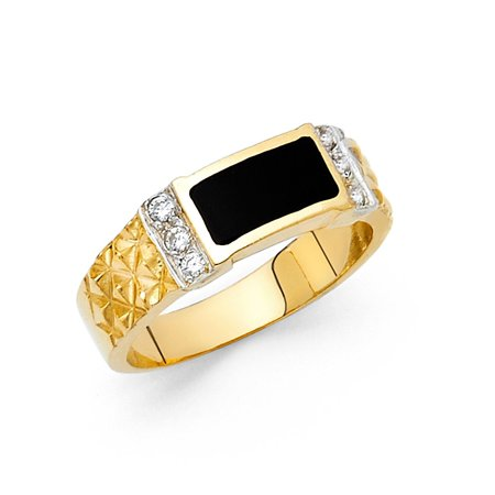 Mens Onyx Band Solid 14k Yellow Gold Ring Black Diamond Cut CZ Square Design Polished Fancy ()