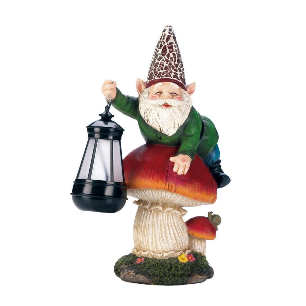Solar Garden Statues, Gnome On Mushroom Yard Small Patio Solar Statue Outdoor