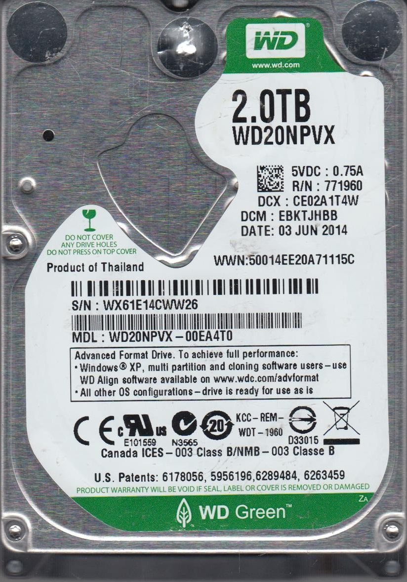 WD20NPVX-00EA4T0, DCM EBKTJHBB, Western Digital 1TB SATA 2.5 Hard Drive by WD