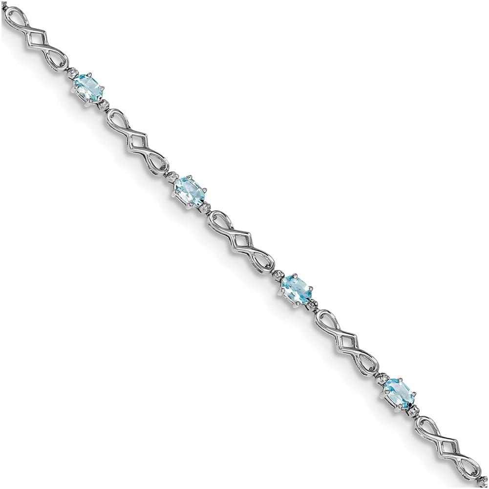 Sterling Silver Aquamarine and Diamond Bracelet QX860AQ by