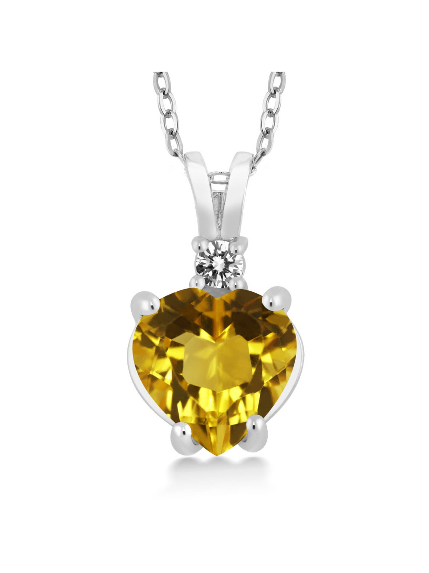 14K White Gold Heart Pendant set with 1.67 Ct Yellow Citrine & White Diamond by