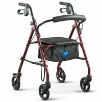 "Medline Steel Rollator Walker, Folding Rolling Walker, 6"" Wheels, 350lb Weight Capacity, Burgundy Red Frame"