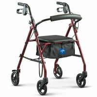 "Medline Steel Rollator Walker, 6"" Wheels, 350 lb. Weight Capacity, Burgundy Frame"