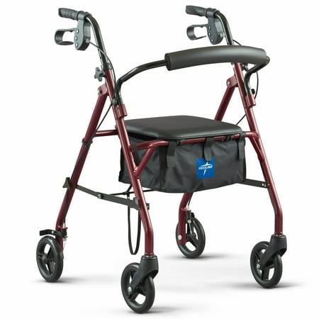 "Medline Steel Rollator Walker, Folding Rolling Walker, 6"" Wheels, 350lb Weight Capacity, Burgundy Red Frame"