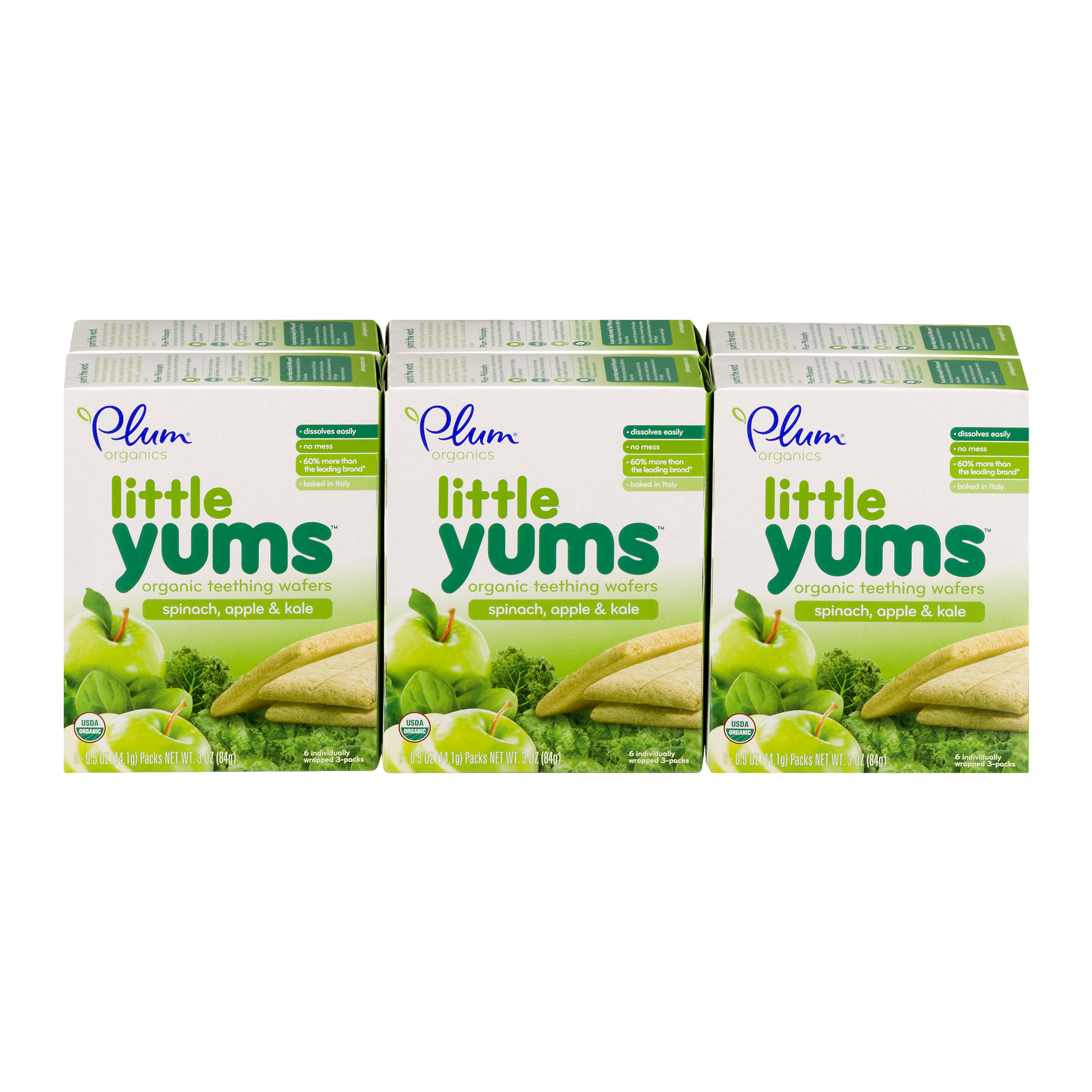 Plum Organics Little Yums Spinach, Apple & Kale Organic Teething Wafers, 0.5 oz, 6 count (Pack of 6)
