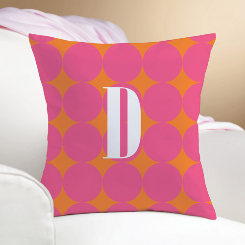 Personalized Pink Polka Dots Pillow