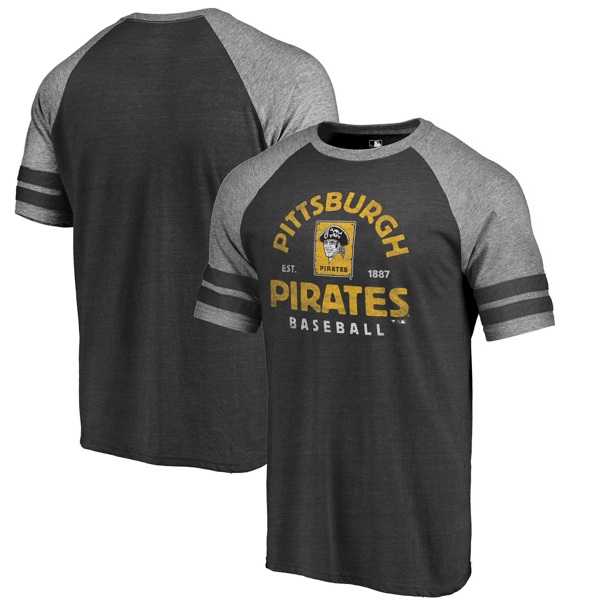 Pittsburgh Pirates Fanatics Branded Cooperstown Collection Vintage Arch Tri-Blend Raglan T-Shirt - Black