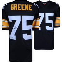 "Joe Greene Pittsburgh Steelers Autographed Mitchell & Ness Black Replica Jersey with ""HOF 87"" Inscription - Fanatics Authentic Certified"