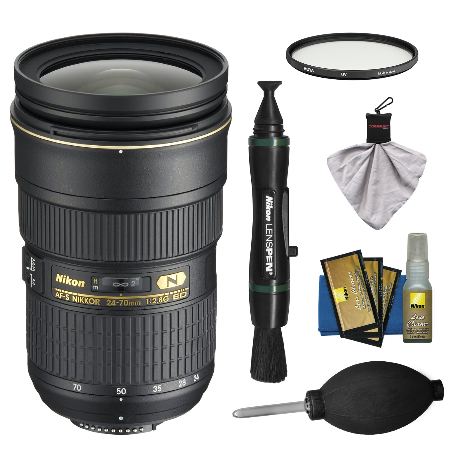 Nikon 24-70mm f/2.8G AF-S ED Zoom-Nikkor Lens with Hoya NXT UV Filter + Kit for D3200, D3300, D5300, D5500, D7100, D7200, D750, D810 Cameras