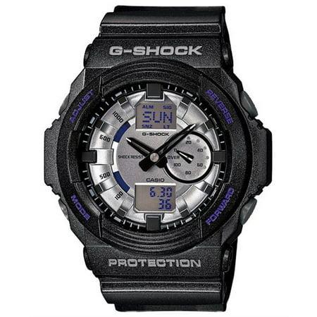 Silver Monochrome Resin - Casio GA150MF-8A Men's G-Shock Silver Metallic Ana-Digi Dial Shock Resistant Black Resin Dive Watch