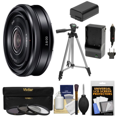 Sony Alpha E-Mount 20mm f/2.8 Wide-Angle Pancake Lens + 3 Filters + Tripod + NP-FW50 Battery/Charger Kit for A7, A7R, A7S Mark II, A5100, A6000,