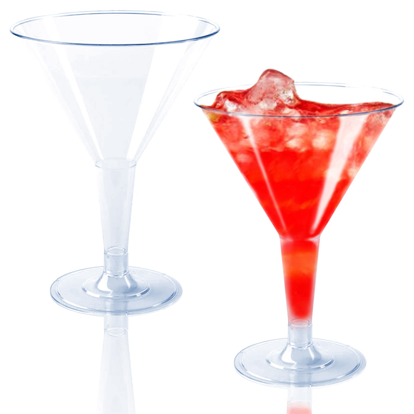 Kaya Collection 2 Pack 16 Glasses 2oz Mini Disposable Cocktail Cups Plastic Clear Martini Glasses
