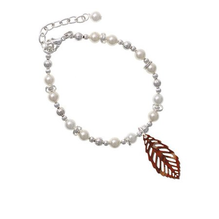 (Acrylic Medium Leaf Pearly Brown Imitation Pearl Beaded Bracelet)