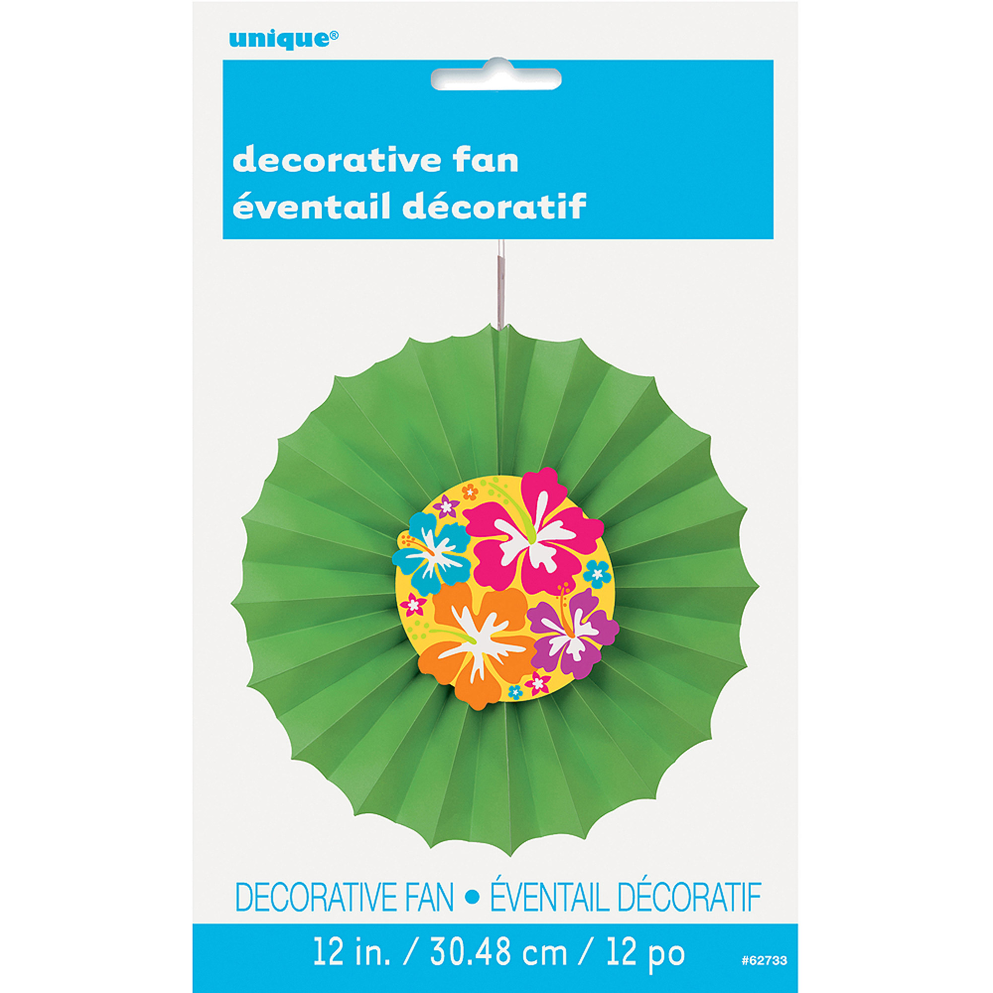 "12"" Hibiscus Tissue Paper Decorative Fan"