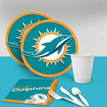 Miami Dolphins Tableware Party Pack for 16