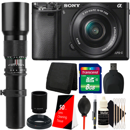 Sony Alpha A6000 Mirrorless 24.3MP Digital Camera with 16-50mm Lens, 500mm Lens and Great Value