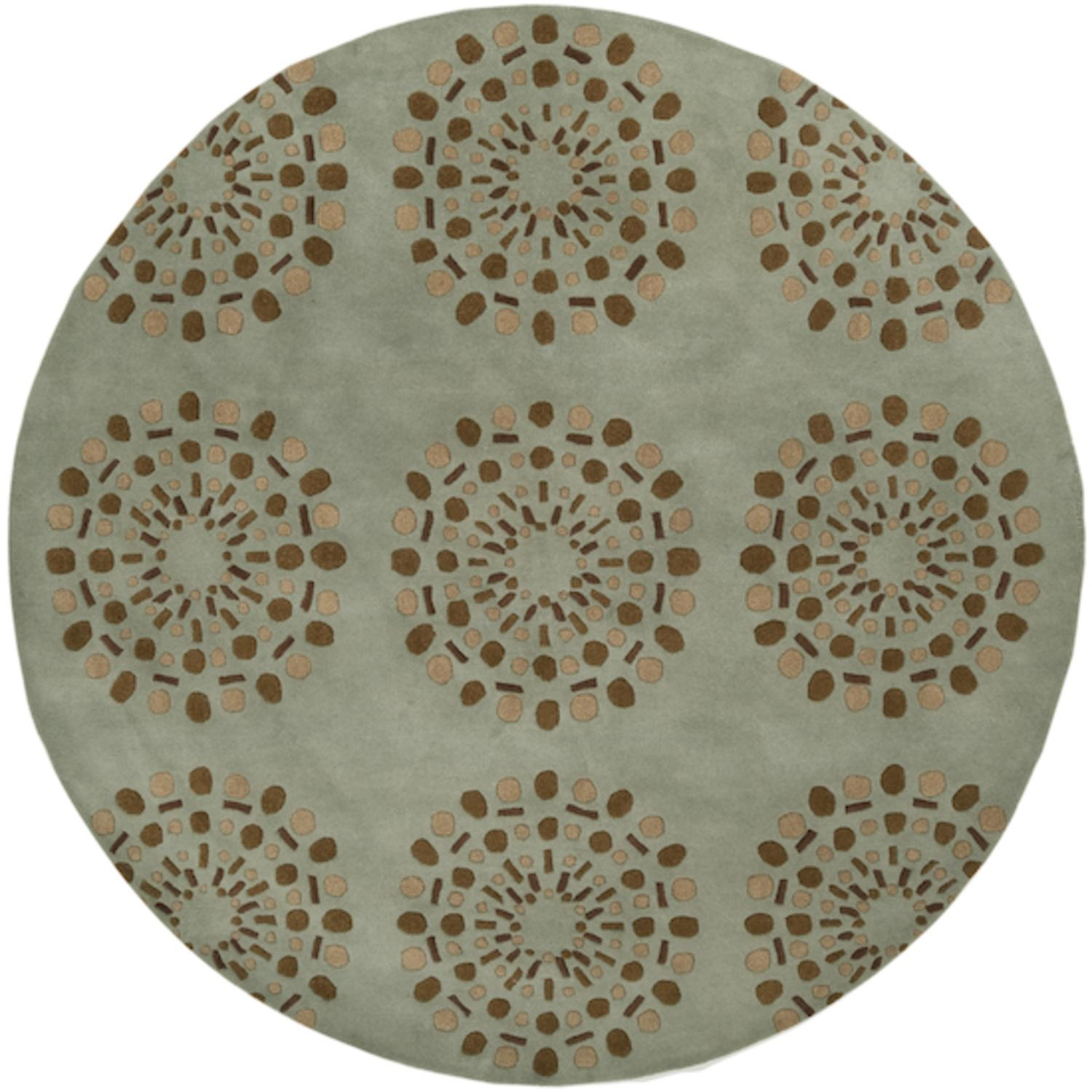 8' Asian Lotus Blue Haze and Brown Round Wool Area Throw Rug